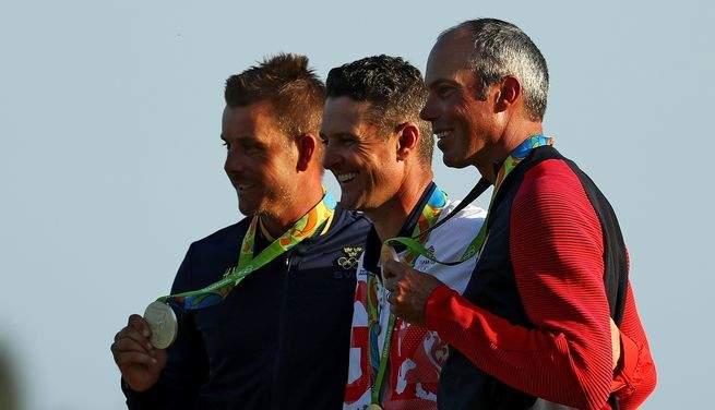 Justin Rose, Henrik Stenson et Matt Kuchar sur le podium des Jeux Olympiques de Rio 2016