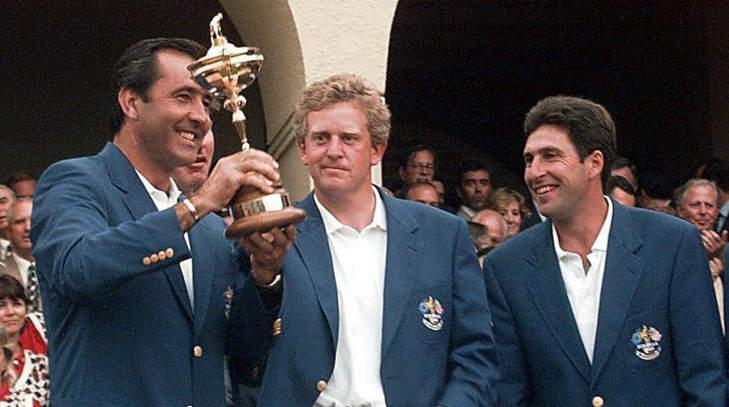 Severiano Ballesteros au côté de Colin Montgomerie et José Maria Olazabal